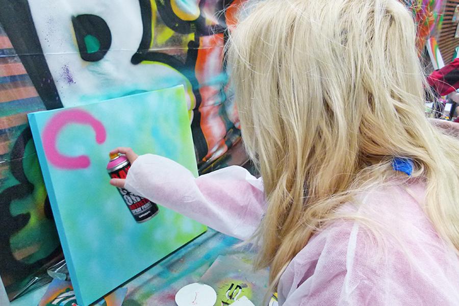 kinderfeest indoor graffiti